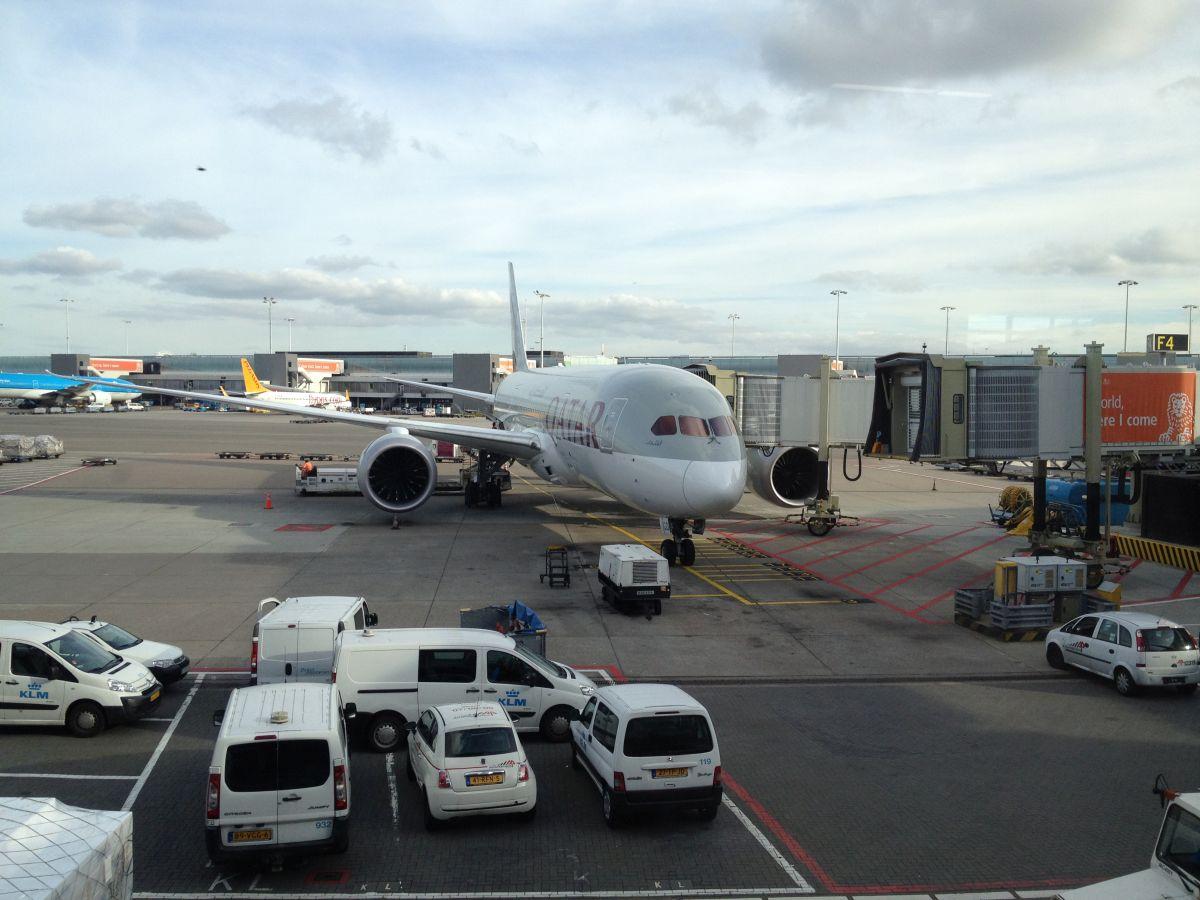 Unser Flieger von Amsterdam nach Doha