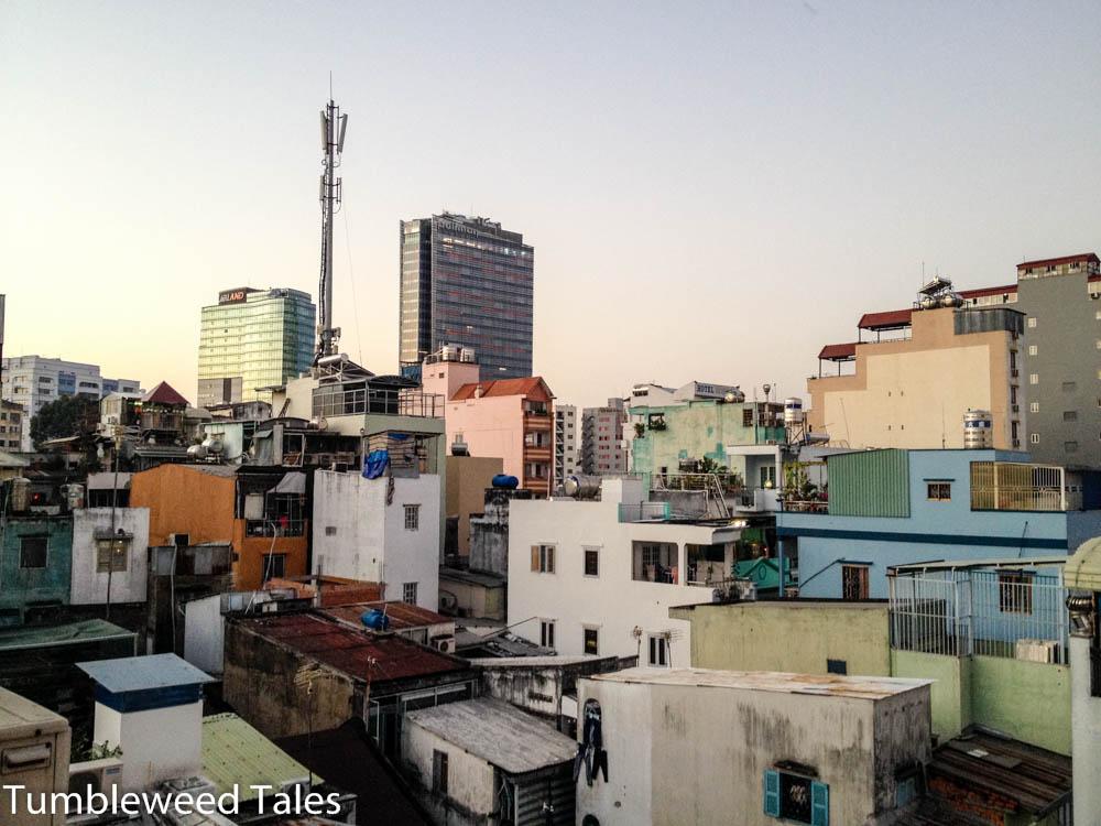 Ausblick aus der 4. Etage unseres Hostels in Saigon