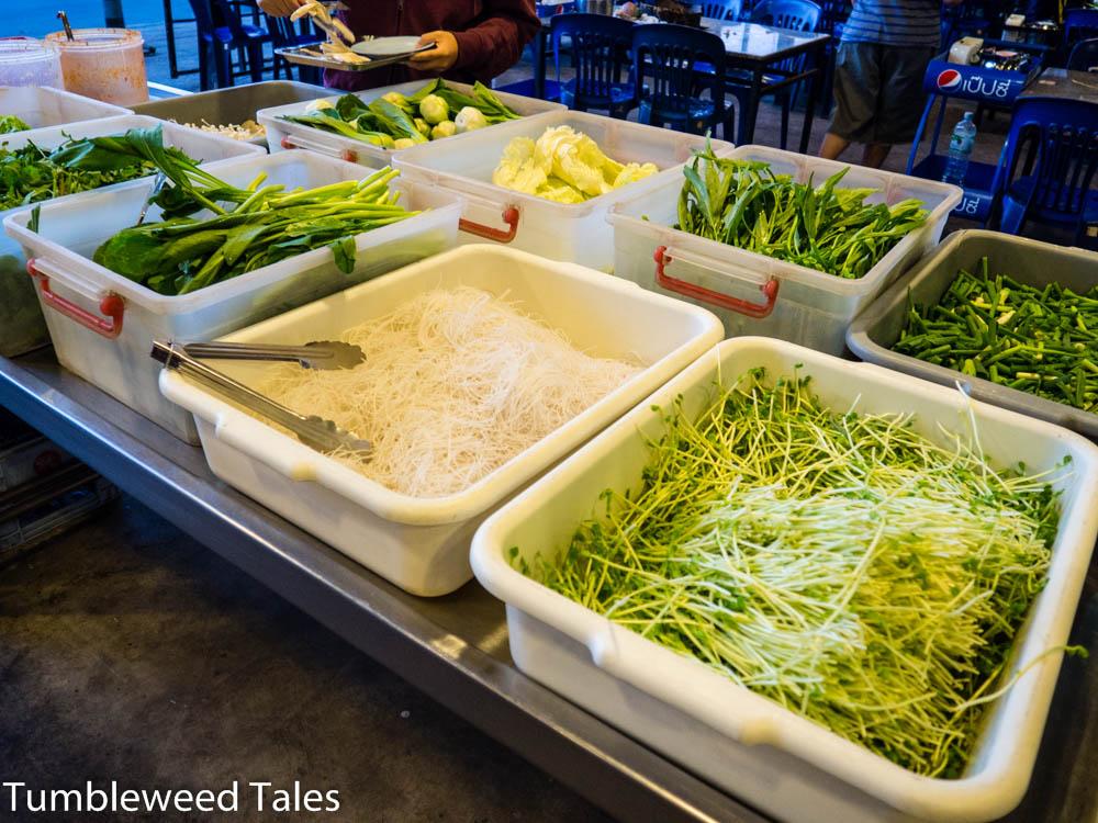 Nicht nur Fisch und Fleisch, auch Grünzeug in rauen Mengen!