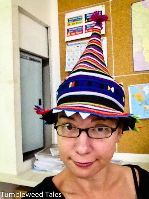 Meine Vorliebe für bescheuerte Hüte konnte ich mir noch nicht so ganz abgewöhnen.