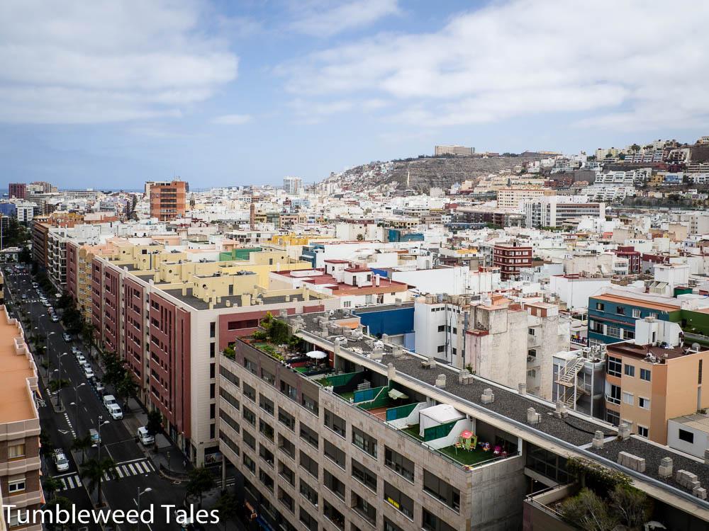 Aussicht aus unserem Zimmer auf den Süden von Las Palmas