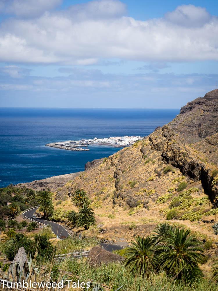 Blick von der Küstenstraße zurück nach Norden auf Agaete