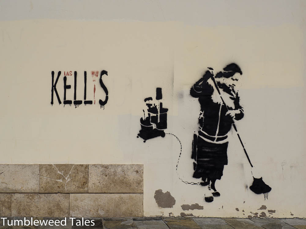 Stencil-Graffiti... Ob Banksy mal in Las Palmas war?