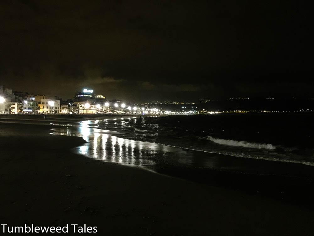 Playa de Las Canteras bei Nacht