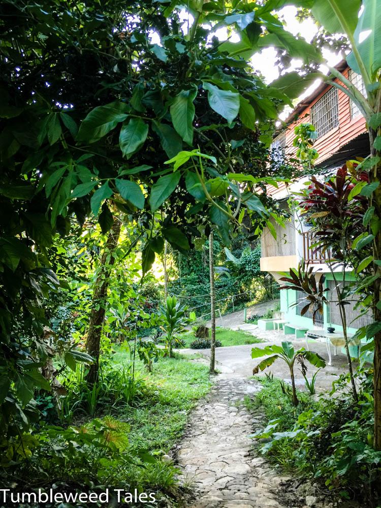 Der Weg von unserem Häuschen am Rande des Geländes Richtung Zentrum