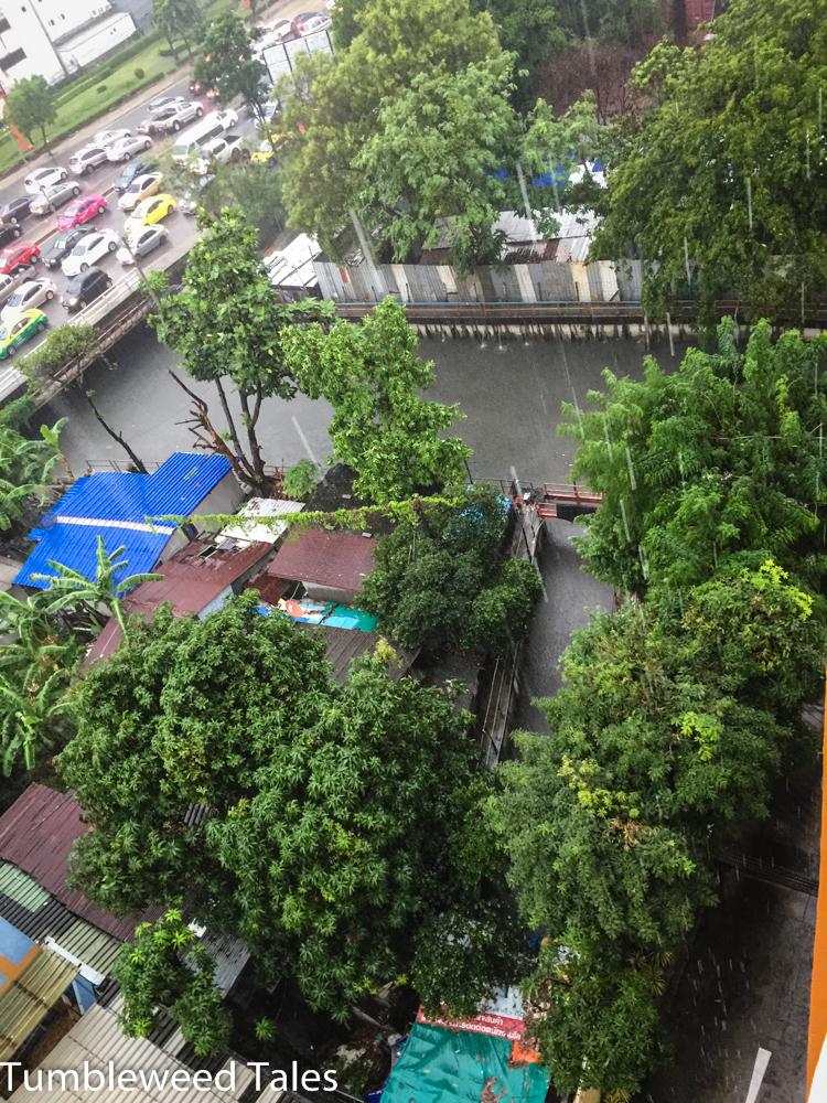 Aus unserem Schlafzimmer nach rechts: grün-schwarzer Klong (Kanal), in dem mindestens ein mannsgroßer Bindenwaran lebt.