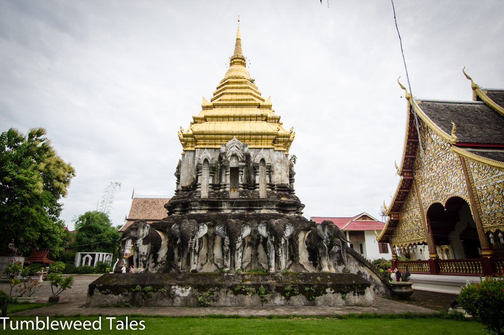 Elefanten-Chedi im Wat Chiang Man, dem ältesten Tempel in Chiang Mai (1297 errichtet)